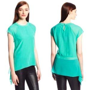 BCBG 100% Silk Mint Green Asymmetric Blouse